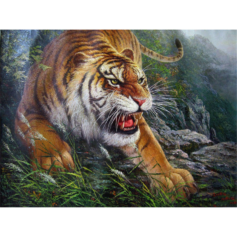 Tiger animal frameless picture 3D wall art DIY diamond painting