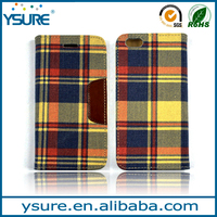Fashion plaid cowboy leather case for BlackBerry ,card slots and magnet closure