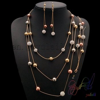 Women Jewelry with Gold Plating trending hot products rope bead pendant necklace bracelet earring
