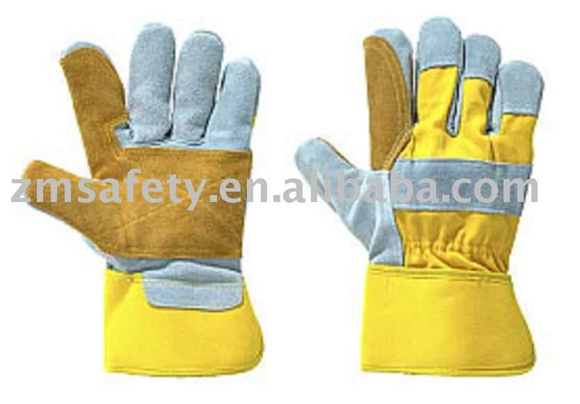 Pro grey cow split leather working glove with double palm