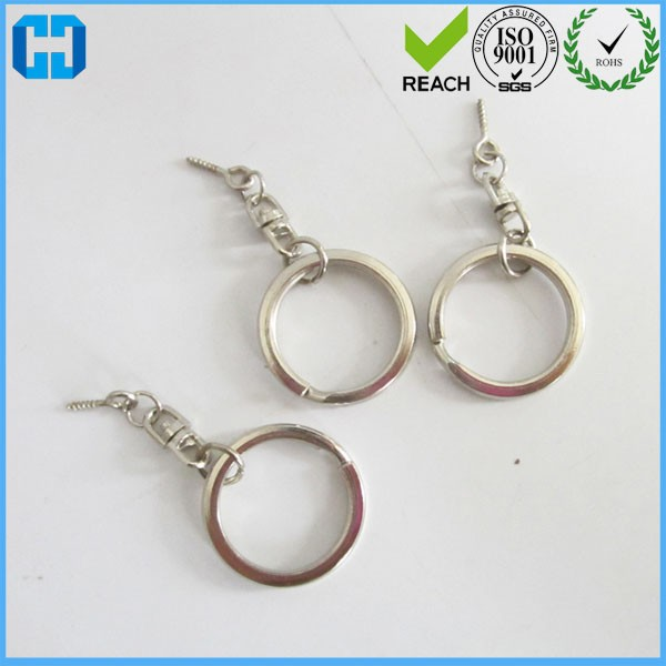 Metal Split Key Chain Ring With Double Round Swivel Eye