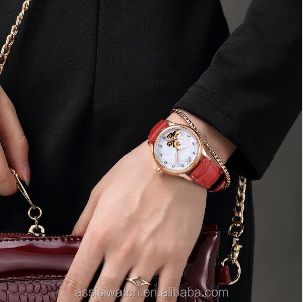 Assisi Rose Gold And White Ceramic Lady's Watch Automatic Movement Watch