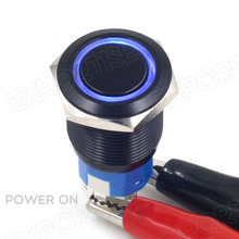 19mm Blue Power Symbol LED 12V Push Button Metal Resetable Switch Sales