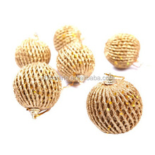 Christmas tree decoration yellow spiral christmas ball , Supplies hanging new year santa claus gift