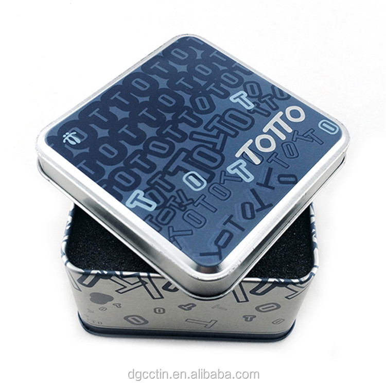 Square gife packaging tin box/Promotional embossing metal electronic tin box