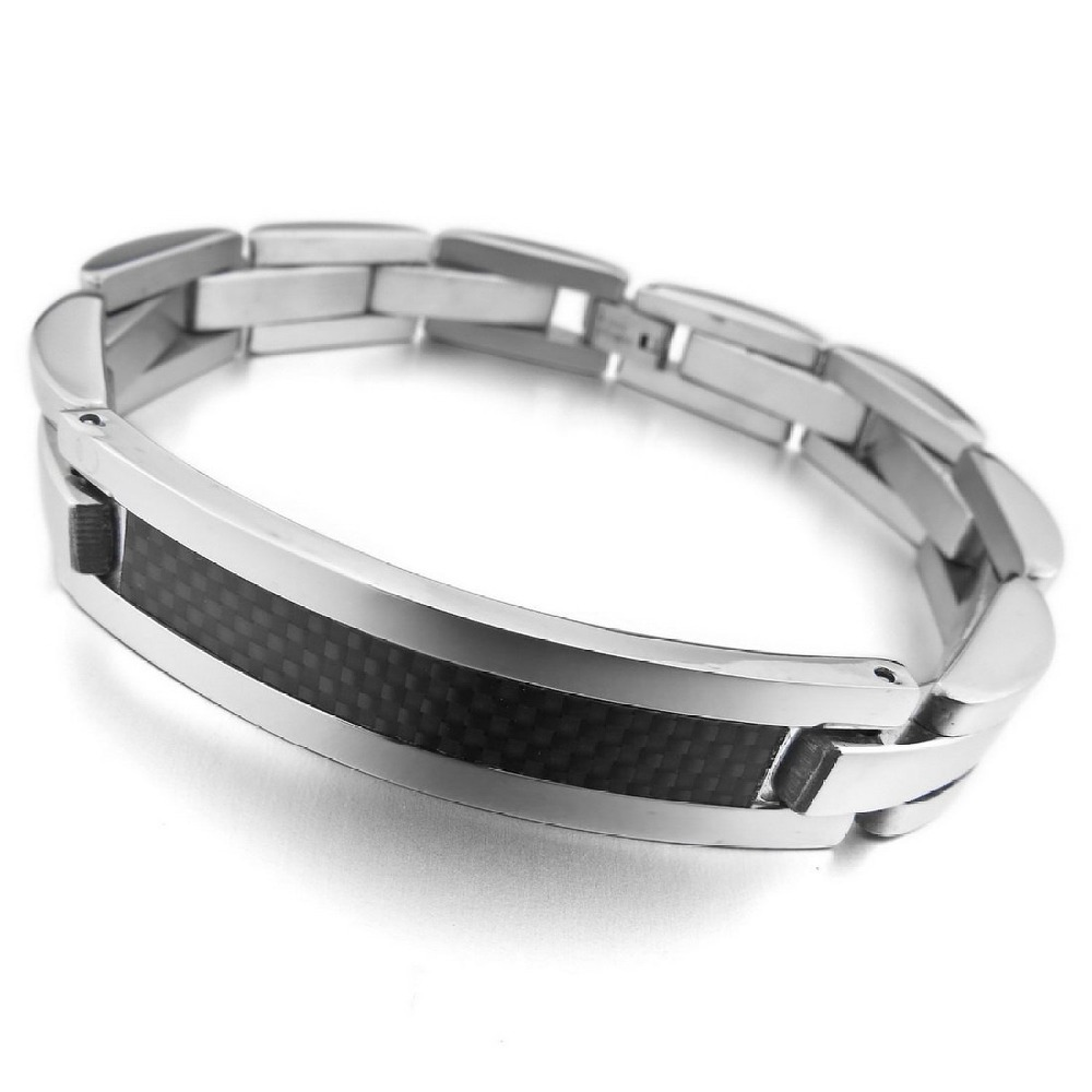 New Arrival Hot Sale Fashion Chic Gothic & All-Purpose Style Carbon Fiber Bracelets Made By Stainless Steel With Length 8.58inch