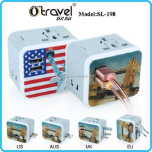 Good quality square full logo brand printing multinational usb travel adapter ith built-in usb charger