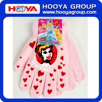 Promotional Arylic Girl's Knit Winter Glove