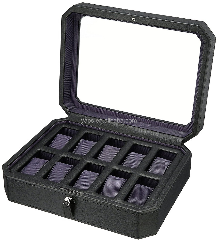 Black leather watch case 10 slot carbon fiber watch box 10 slot display case