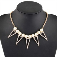 fashion triangle shape plastic pearl latest design alloy crystal pendant necklace