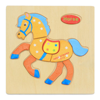 Hot Selling 3D Cartoon Baby Kids Jigsaw Puzzle Toys Educational Wooden Puzzle