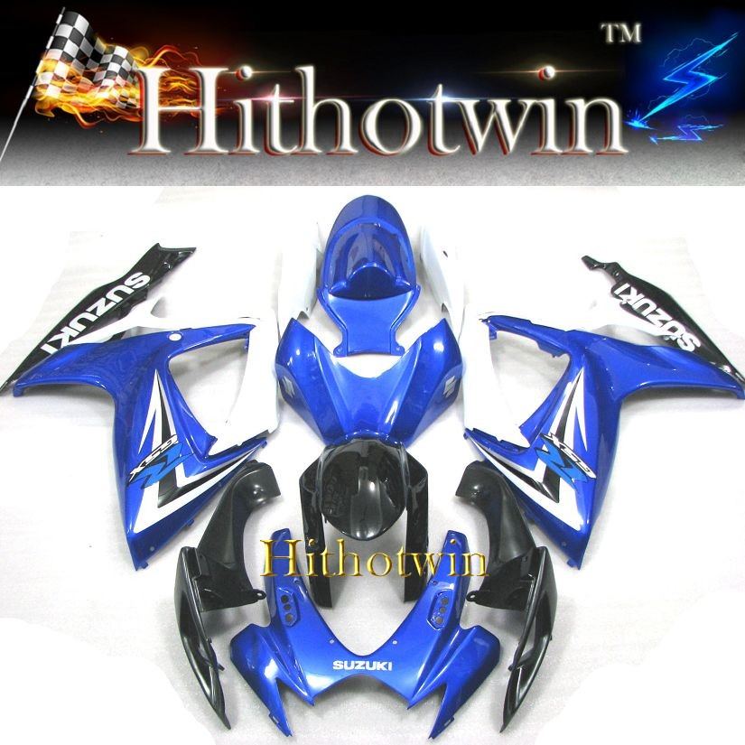 GSXR600 2006 2007 GSXR750 ABS Fairing Set for Suzuki GSXR 750 GSXR 600 K6 blue and black fairing GSX-R600 06 07 Plastic Kit