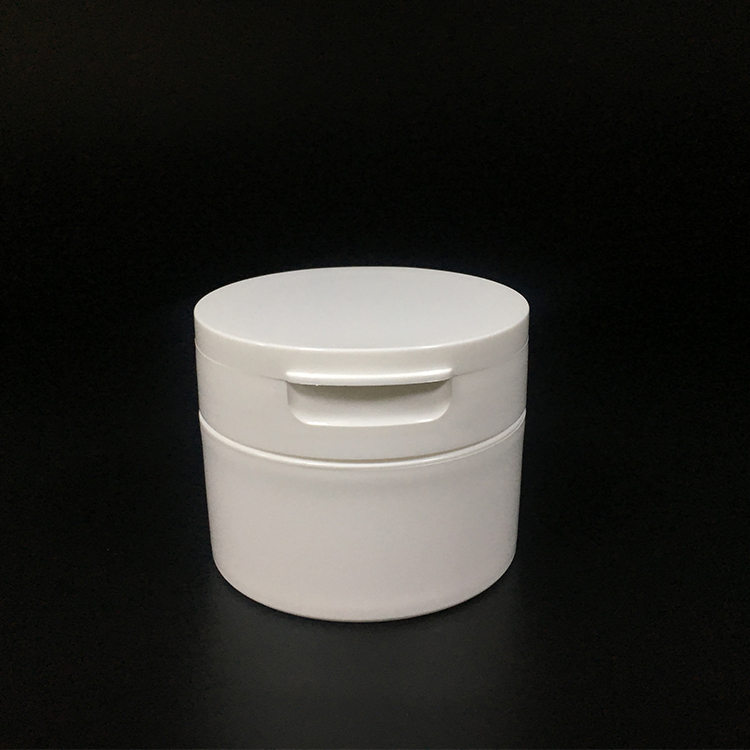 White round cosmetic packaging plastic 120g PP single wall jar with flip top cap