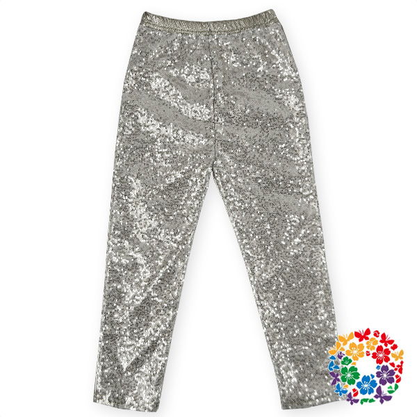 Hot sale girls fashion children leggings tight pants silver sequined kids pants autumn long pants&trousers