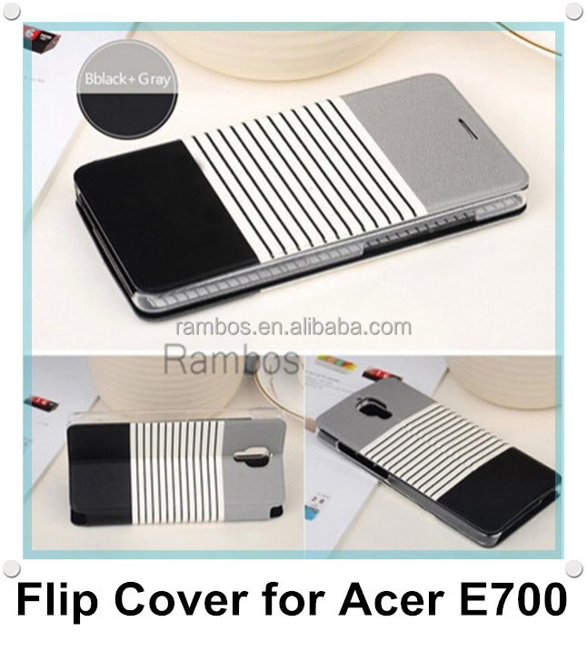 PU Leather Wallet Flip Case Phone Back Cover Card Holder Stand for Acer Liquid E700