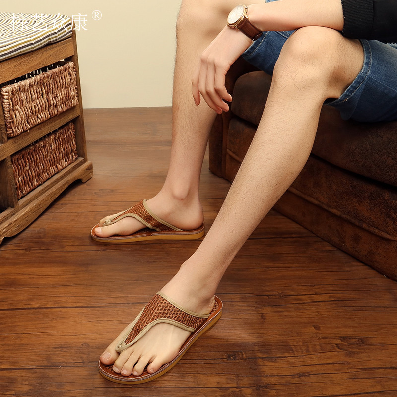 2018 men shoe fashion <strong>sandals</strong> bamboo straw men flipflop <strong>sandals</strong>