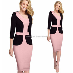 NS0993 long sleeves fashion office ladies spring autumn dress woman career dress