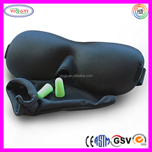 High Quality Fashion Bedtime Contoured Comfortable Black Sleep Eye Mask with Ear Plugs