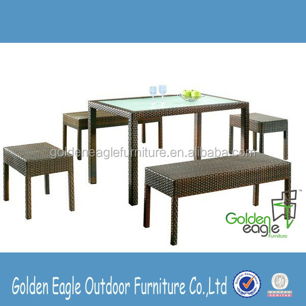 PE rattan outdoor garden dining set restaurant furniture