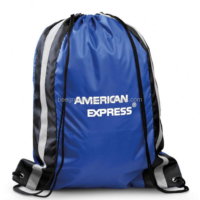 BeeGreen Basic 210D polyester reflective quality drawstring backpacks