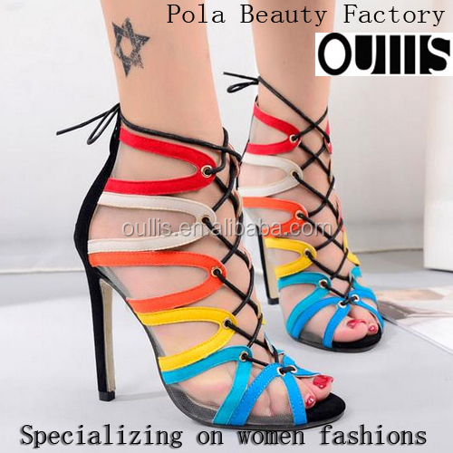 Fashion sex party shoes colorful ladies sandals high heels PF4306