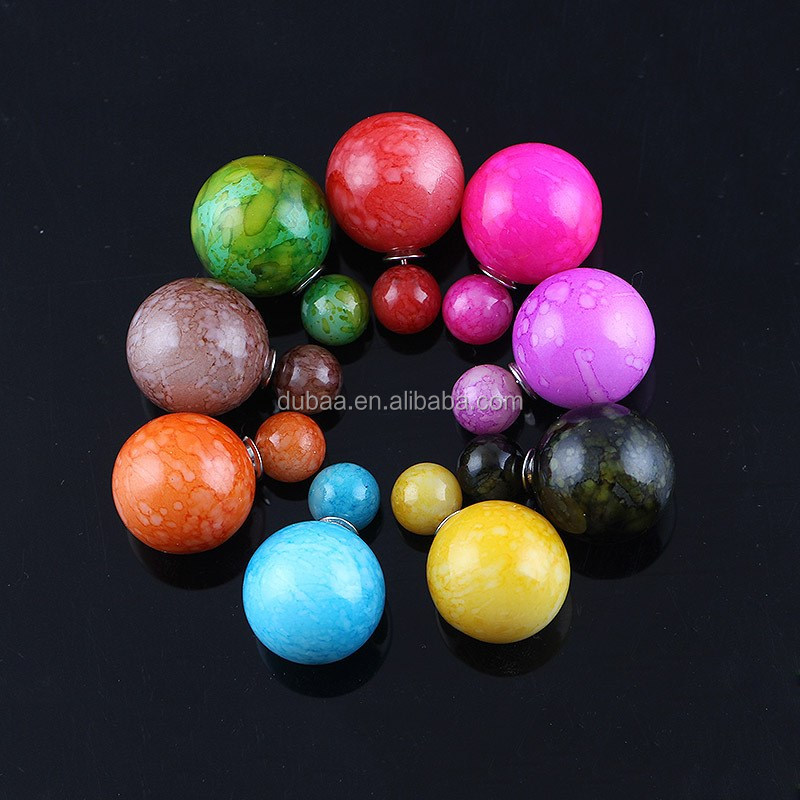 Candy Color Rainbow Double Side Two Ball Earrings Stud