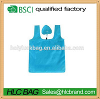 Foldable Heart shape reusable polyester shopping tote bag wholesale