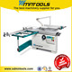 Precision sliding table panel saw with saw blade tilting