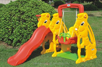 Cute plastic slide with swing for kids