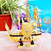 Pine Wood Hand-Painted Wholesale Music Boxes New Wooden Sminiature Model Sailboat