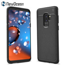 2018 NEW design Rugged Armor Litchi leather cell phone case for Samsung Galaxy S9 Plus case TPU Cover