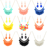 fashion metal alloy water drop shape acrylic pendant statement beaded necklace jewelry set 2015