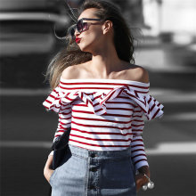 Latest Women Tops 2017 Hot Very Cheap Red White Stripes Off Shoulder Top