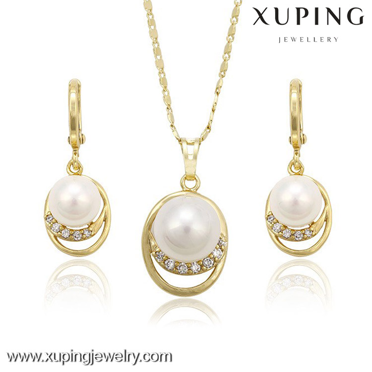 63292 xuping 14k gold wedding chic single pearl jewellery,necklace set,jewelry set