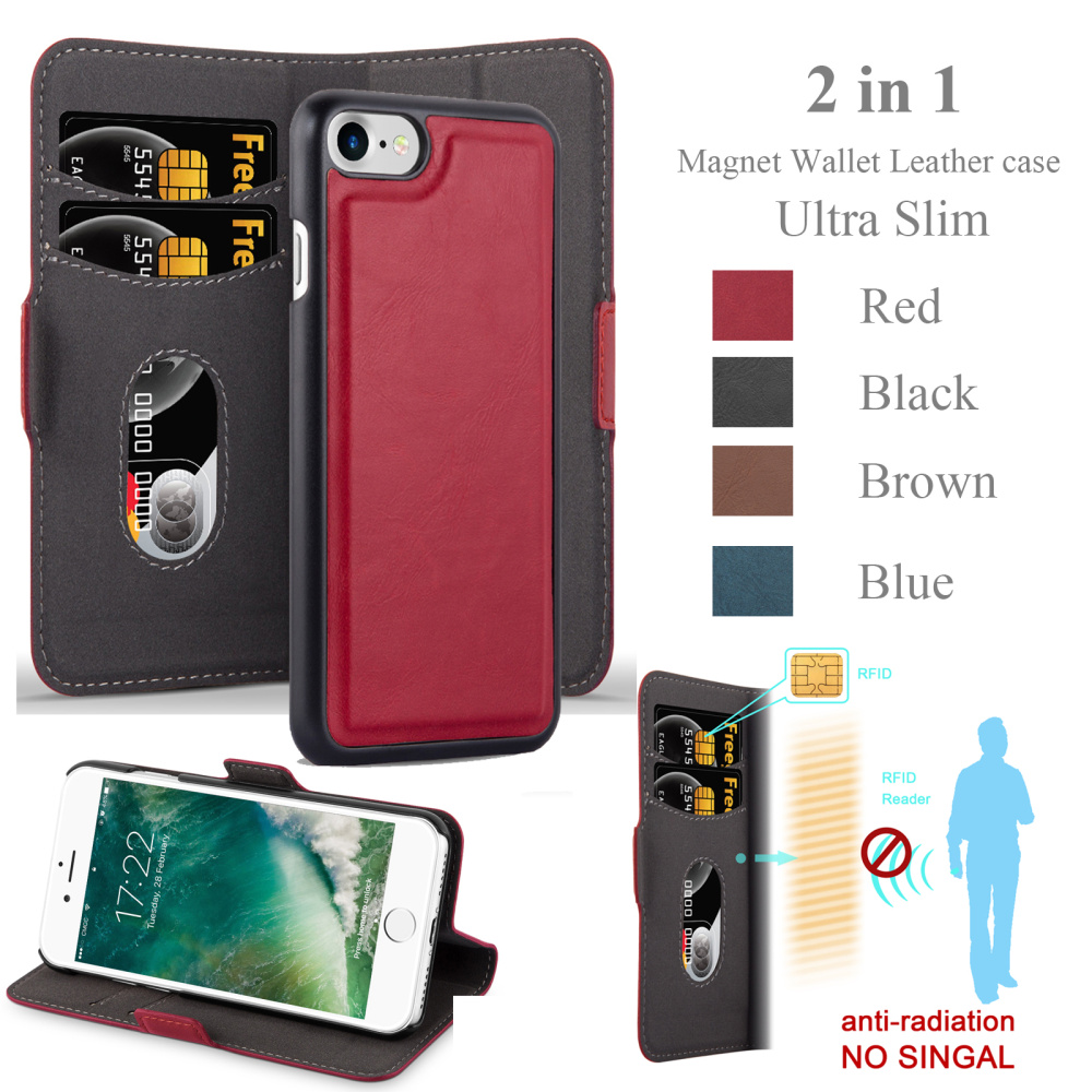 Top quality 2in1 magnetic flip leather case for iphone 7 , magnet wallet case for iphone7