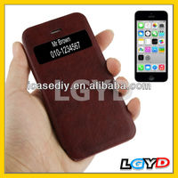 Factory price Crack Texture Flip Leather Cover Plastic Case with Call Display ID for iPhone 5C (Scarlet Red)
