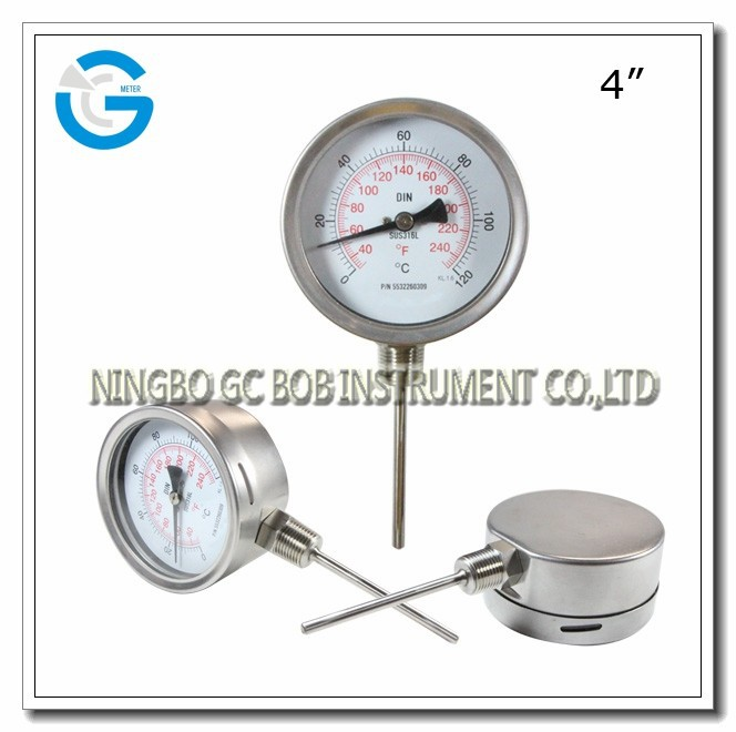 High quality 4 inch bottom connection stainless steel bimetal thermometer with bayonet ring
