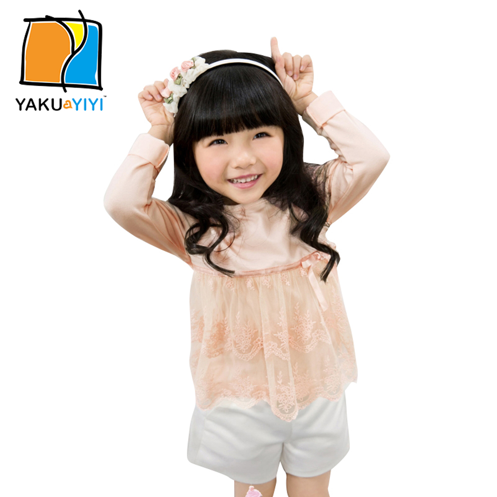 YAKUYIYI 2016 New Girls T-shirt Sweet Lace Patchwork Baby Girl Tops Long Sleeve Basic Children Casual T-shirt For Wholesale