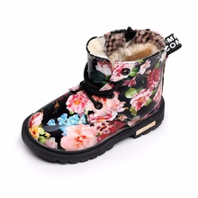 Winter Plush Children Girls Cute print Flower Baby Snow Boots Warm Shoes Rubber Kids Shoe Martin Boots with fur