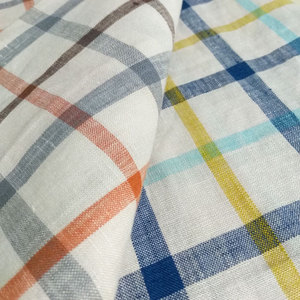 SHAOXING factory supplier wholesale 100% pure plaid linen fabric for shirt clothing