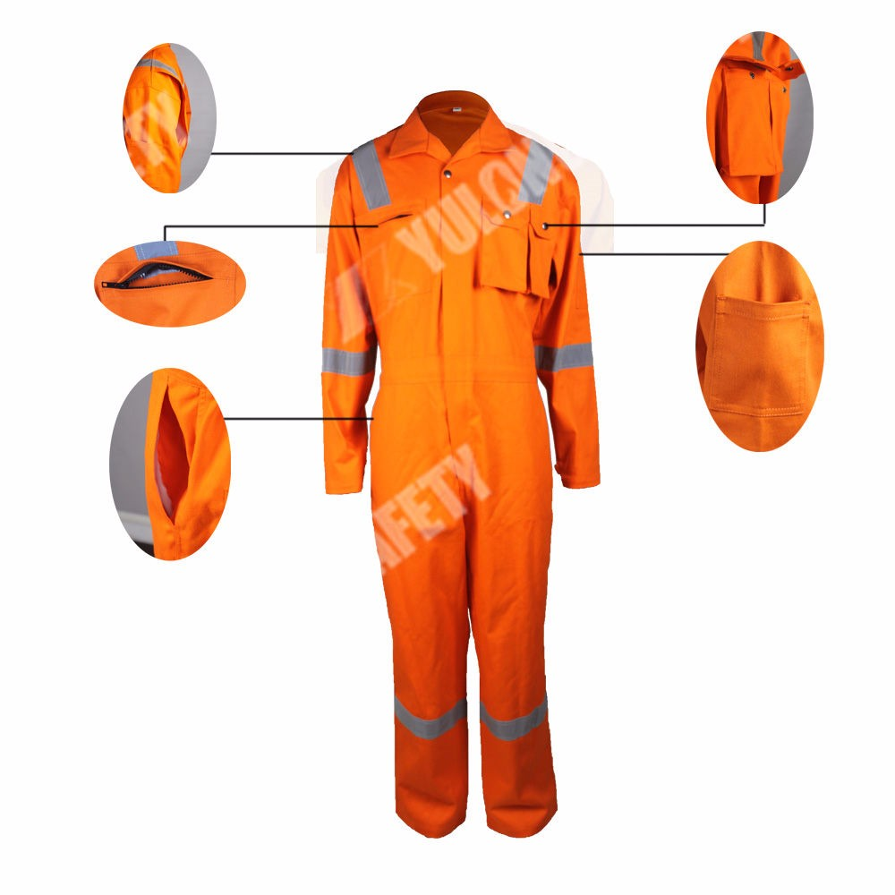 EN11612 100% Cotton Fire Retardant Safety Coverall For Oil And Gas Industry