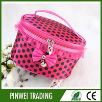 wholesale satin style clear travel cosmetic bag for lady