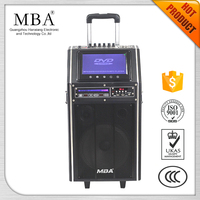 Multimedia amplifier subwoofer outdoor portable rechargeable active trolley speaker with USB SD FM DVD
