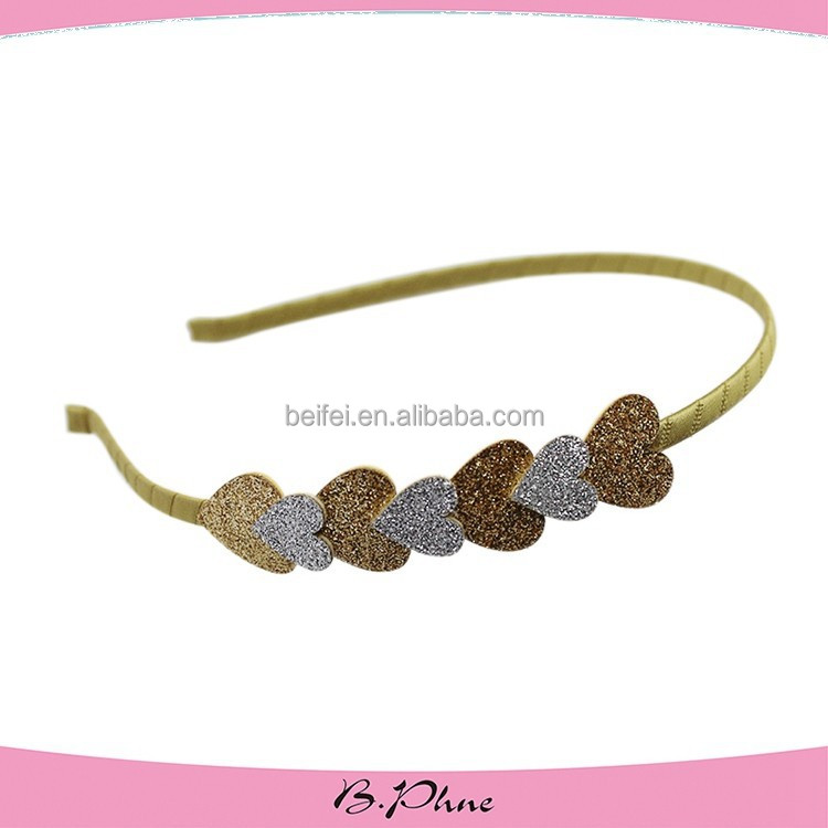 colorful thin hair band with heart shaped glitter powder accessories