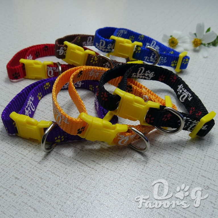100% Nylon Silk Printed Logo Dog Collars for Chihuahua, Teddy, small cat dog use