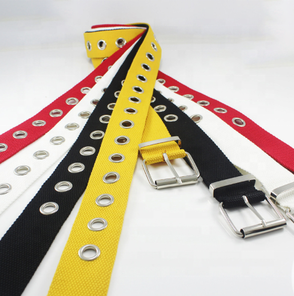 Unique Bargain 1.5inch Single Pin Buckle Canvas Flat Belts With <strong>Hole</strong> For Promotion