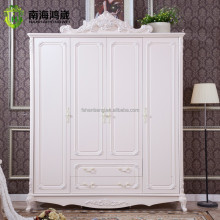 New Designs White Flat Pack Classical Korean European French Baroque Style Wooden MDF 3 4 Door bedroom Wardrobe Closet