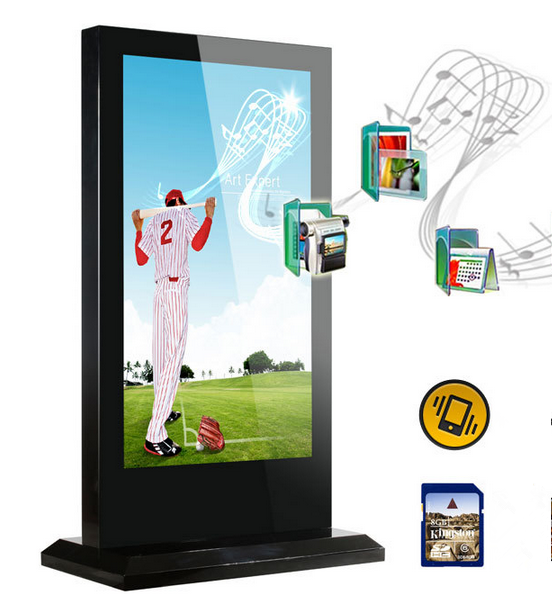 75 inch stand alone lcd advertising display , outdoor advertising screen , touch kiosk