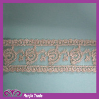 2013 Hot-sell Embroidery Design Gold Bridal Lace Trim