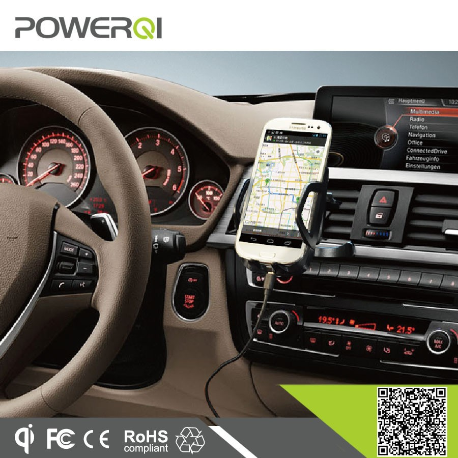 Powerqi C3 3 coils Qi enabled transmitter,car charging pad for Samsung S6
